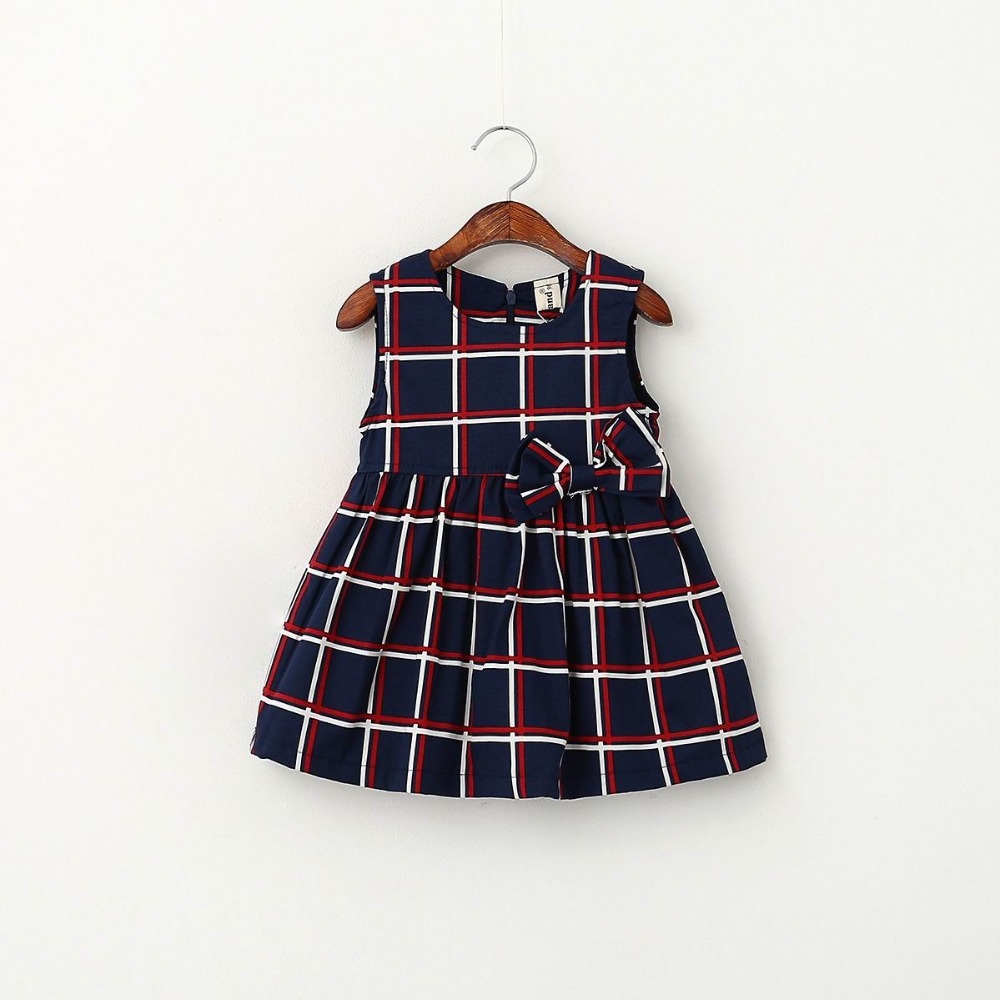 2016 New Girl Dress England style Plaid Big Bow Sundress Children Clothes 2-7T 512973<br><br>Aliexpress