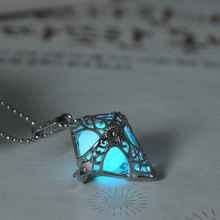 (1 necklace+3 Luminous Beads) Creative Cone Pendant Trendy Glow In The Dark Necklaces Glowing Necklaces Pop Jewelry For women(China (Mainland))