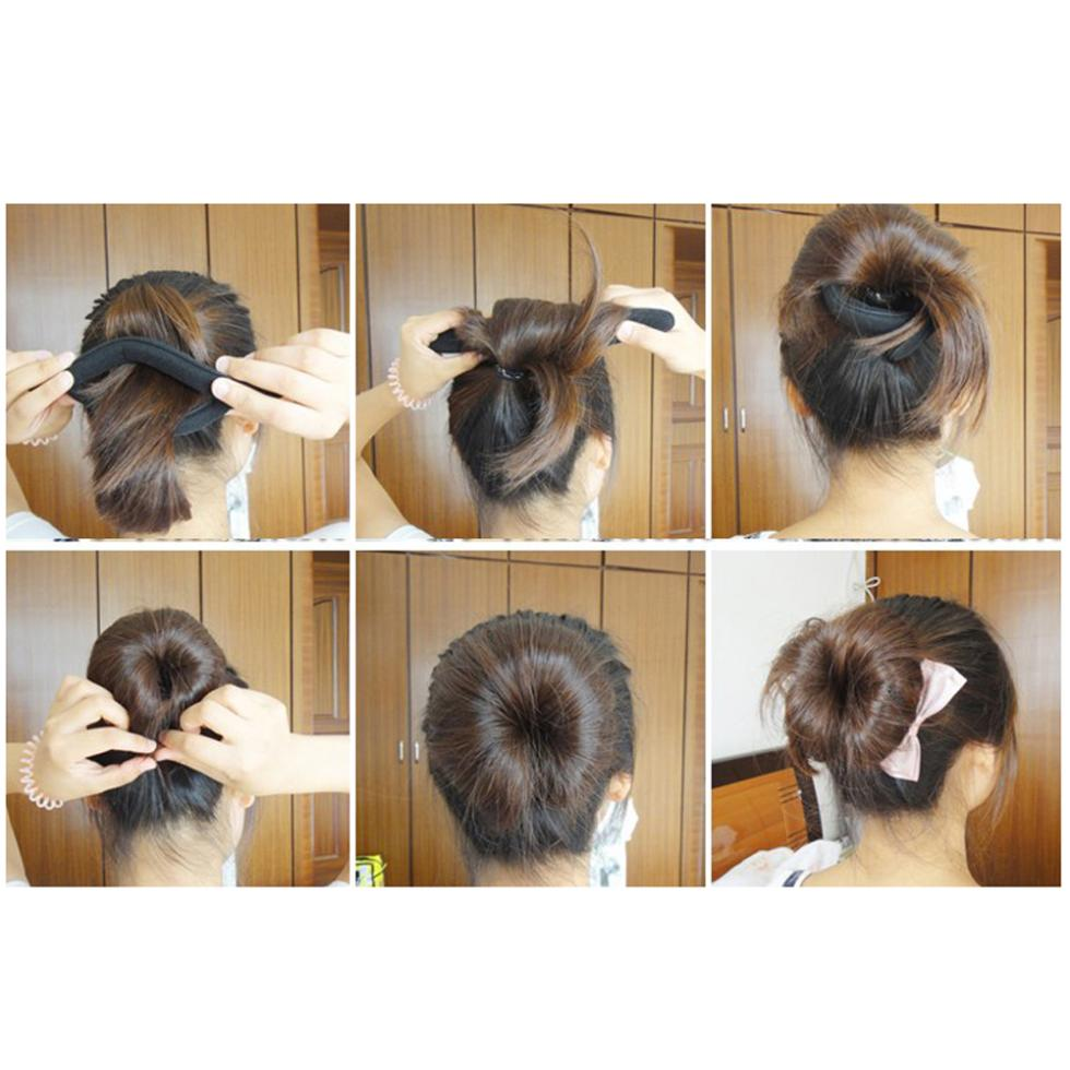 2015 Gift New 4 Pcs 46g Foam Sponge Bun Hair Twist Clip Hairstyle Maker Former for Women(China (Mainland))