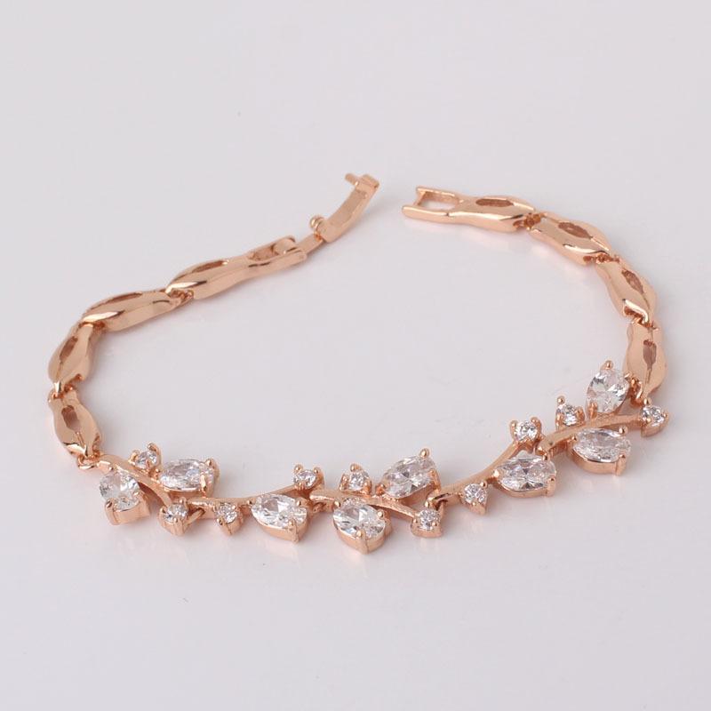 Luxury Oval White Rhinestone Bracelets 7 18K Gold Filled Charming Leaf Bracelet Women Fashion Jewelry Free Shipping L100b<br><br>Aliexpress