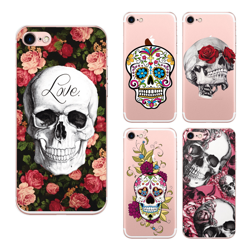 6 Style Cartoon Indian skeleton Cover For Iphone 7 Case Skull With The Flower 6 color Phone Capa(China (Mainland))