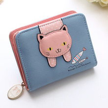 Buy Women cute cat wallet small zipper girl wallet brand designed pu leather women coin purse female card holder wallet for $3.00 in AliExpress store