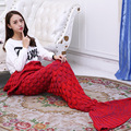 195x95 CM Yarn Knitted Sofa Mermaid Tail Blanket Soft Plaid Sleeping Bag Handmade Crochet Anti Pilling