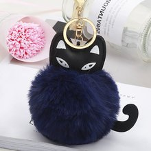 Moda jóias gato chaveiro pompom macio bola de pele peludo chaveiro bolsa do carro pom pom fofo gatinho bonito chaveiros feitos à mão(China)