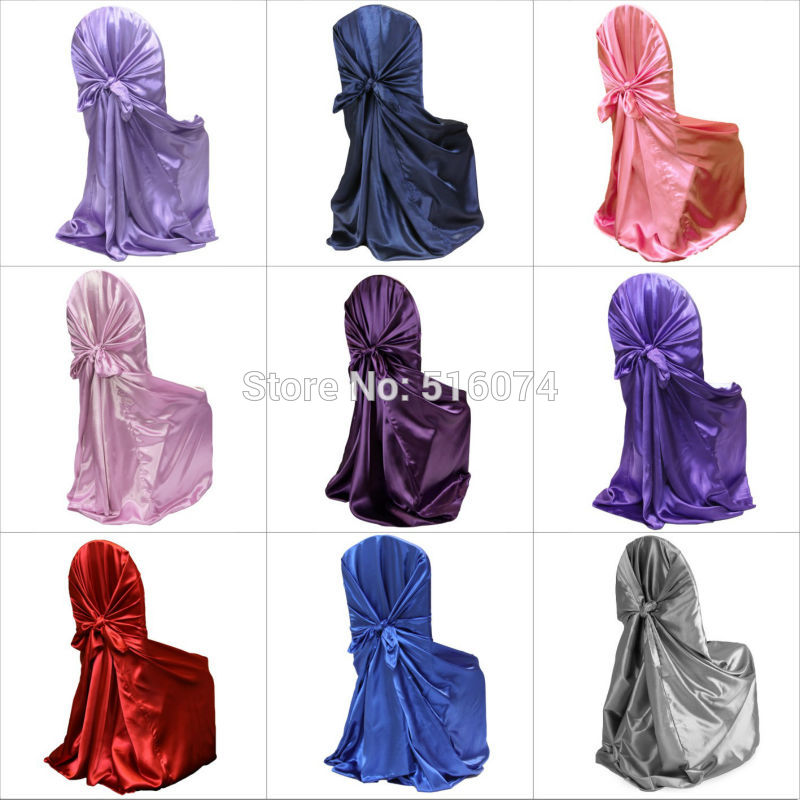 1 pcs Self Tie Satin Chair Cover Wedding Banquet Hotel Party Decoration Product Supplies 110cm*140cm(China (Mainland))