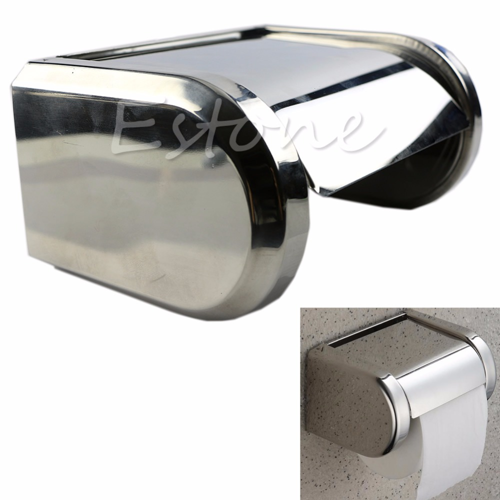 1PC New Stainless Steel Waterproof Bathroom Toilet Roll Paper Holder Tissue Box(China (Mainland))