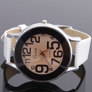 Leather Strap White Simple Quartz Casual Women's Watches Fashion Big Number Dial Clear Watch Women's Wristwatches(China (Mainland))