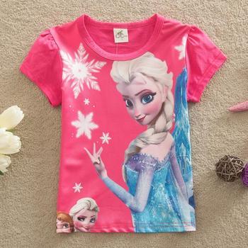 Новые 2015 новорожденных девочек летние топы дети футболки девушки тис с коротким рукавом эльза футболки одежды девочек одежда розовой рубашке
