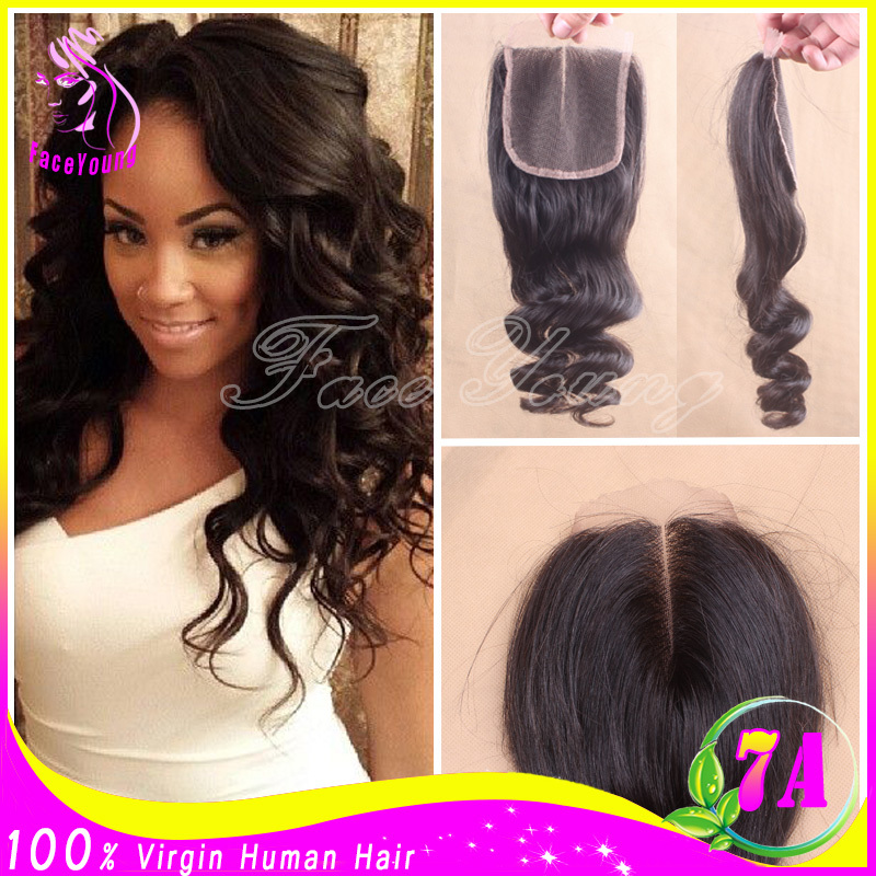 7a Virgin Brazilian Loose Wave Lace Closure Bleached Knots Unprocessed Human Hair Free Middle 3 Part Lace Closure With Baby Hair(China (Mainland))