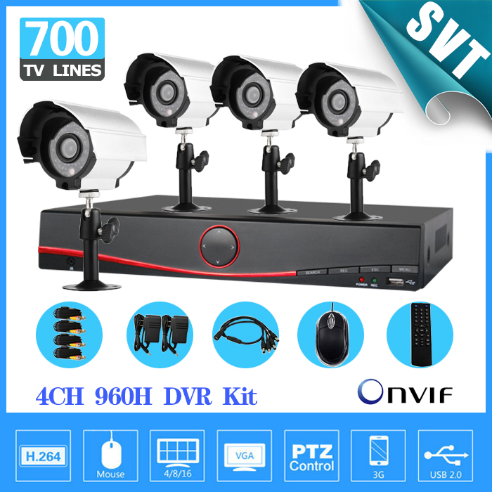 NVR 4CH Full 960H D1 hybrid DVR Recording Security System 4pcs 700TVL Sony outdoor CCTV Day night Camera DVR video kit SNV-19(China (Mainland))