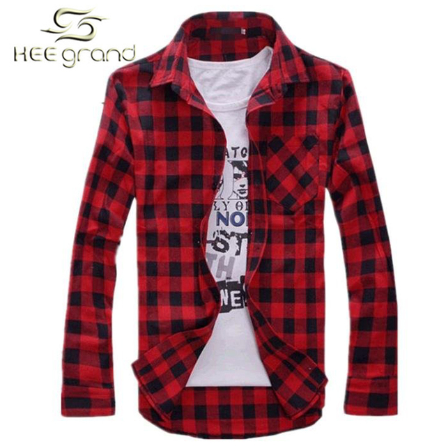 2015 Hot Sale Men's Vintage Plaid Check Long Sleeve Shirt  Slim Fit  Shirts High Quality Camisa Masculina M-XXL 5 Colors I194