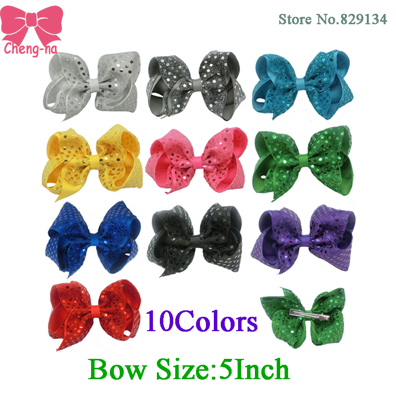 5 Inch Fashion Sequin Hair Bow Hairpins Handmade Girls Hairbows Accessories Boutique Hair Clips For Children 10 Color In Stock()