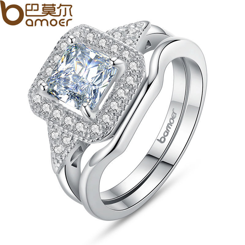 BAMOER 18K Platinum Plated Square Shape Ring Sets Princess Cut Stamp for Women Pave AAA Zircon Stone Wedding Jewelry YIR047(China (Mainland))
