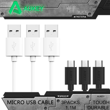Aukey Hi-speed Micro USB Cable [3-Pack] 3.9ft Premium USB Cable 2.0 Sync & Charging Cable for HTC Motorola etc