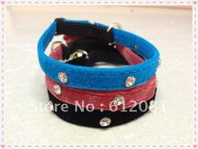 Free shipping,pet products,Ruby Velvet Cat Collar,golden bell (red,blue,black) 30pcs/lot(China (Mainland))