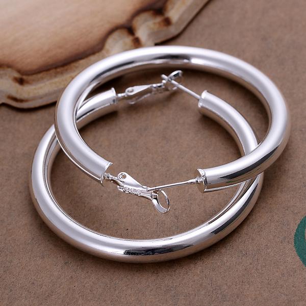 925 stering silver jewelry silver hoop earring hot sale fashion women emerald finding new 5mm empty tube round hoop earing CE149