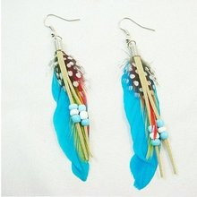12 pairs/lot Free shipping 2011 new arrival Colorful Natural Feathers Dangle Earrings assorted colors(China (Mainland))