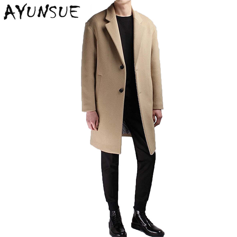 Medium Long Coat Wool Men Brand Clothing Pea Jacket Turn-down Collar Thicken Black Mens Coat Overcoat Camel Men's Coats WUJ1191(China (Mainland))