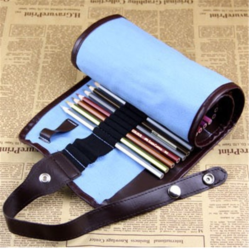Fashion Blue 38 Hole Pencil Bag School Canvas Painting Stationery Roll Pencil Case Sketch Pencil Brush Bag Kits Rolling Holders<br><br>Aliexpress