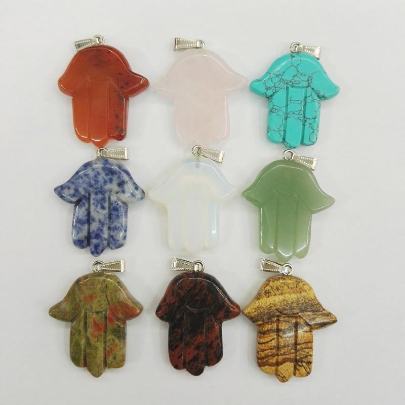 palm natural stone Pendants gesture Mixed Fashion Jewelry men charms pendant for jewelry making 12pcs/lot free shipping(China (Mainland))