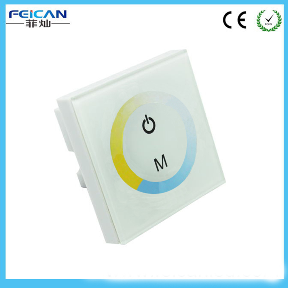 DC12-24V Wall Type White LED Touch Panel Controller Color Temperature Control For Cold/Warm 5050 3528 LED Strip LED Light(China (Mainland))