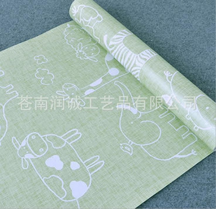 Buy 3 get 1 Cartoon green background self adhesive wallpaper stickers children bedroom wallpaper PVC(China (Mainland))