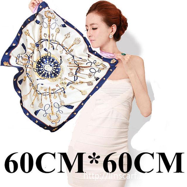 60 см * 60 см Элегантный роскошный металлический ключ цепи кисточкой шаблон дамы небольшие квадратные шарфы 60 см H большой весной и летом ветры