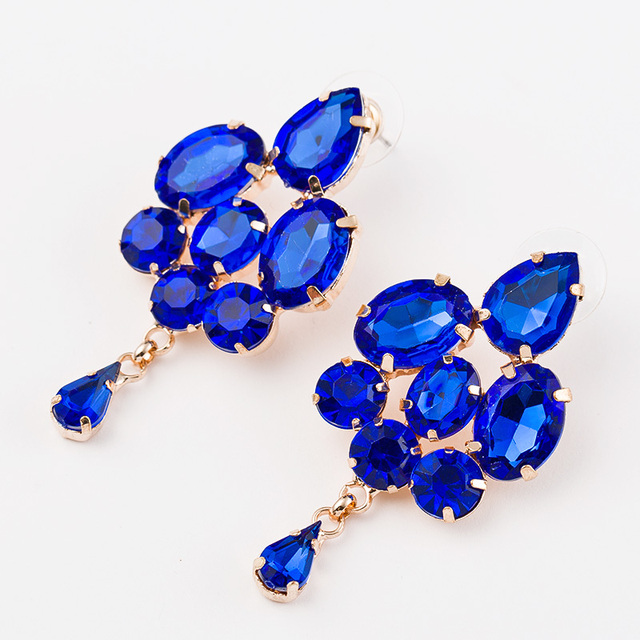 2016 Fashion jewelry blue crystal artificial gem patchwork flower ladies sexy big gold plated drop earrings for women #E025
