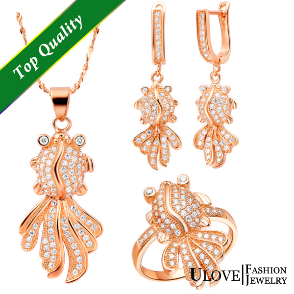Jewelry Sets 925 Sterling Silver CZ Zircon Fashion Gold Fishes Rose Gold Plated Crystal For Girl Birthday Gifts Free Shipping<br><br>Aliexpress