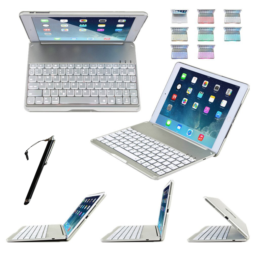 Фотография Ultra Thin Alumium Folio Shell ABS Wireless Bluetooth Backlit Keyboard Carrying Case Colorful Backlight for Apple iPad Air 2