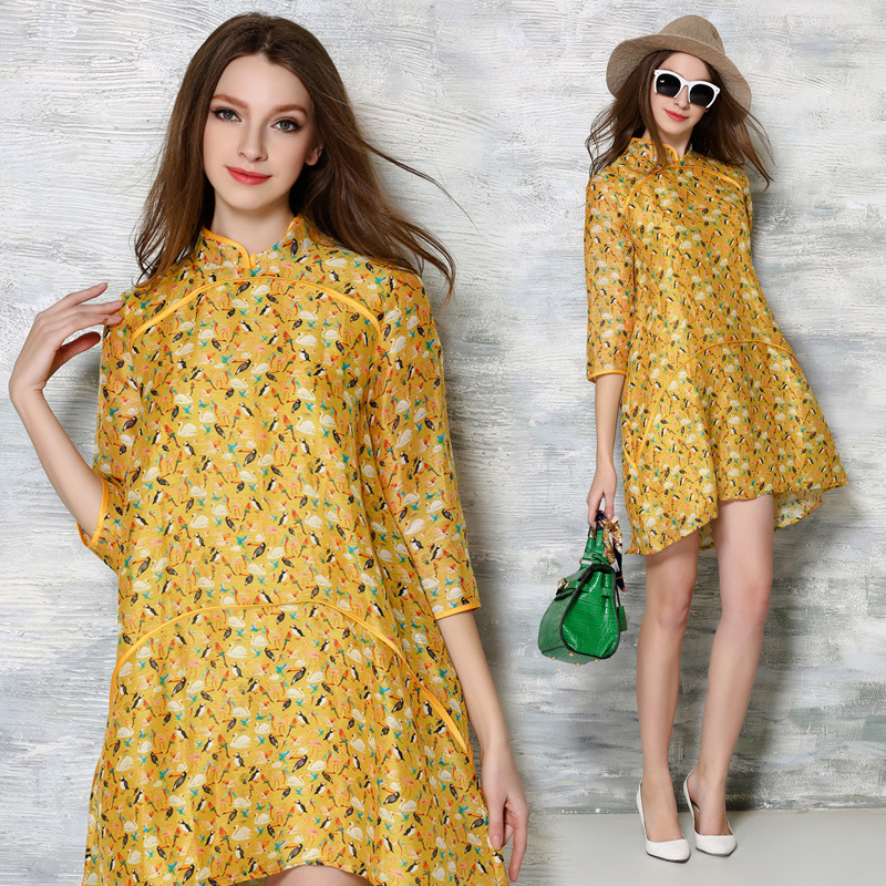 GDA. 2016 Spring birds swan hemp silk printing Chinese noble women dress collar loose Free Shipping F(China (Mainland))