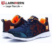 LARNMERN Leichte Atmungsaktive Männer Sicherheit Schuhe Stahl Kappe Arbeit Schuhe Für Männer Anti-smashing Bau Sneaker Mit Reflektierende(China)