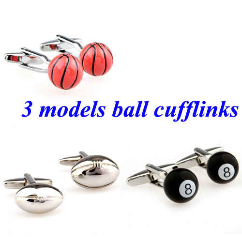 Basketball Rugby Football Snooker Ball Black 8 Cufflink Cuff Link 1 Pair Free Shipping Biggest Promotion(China (Mainland))
