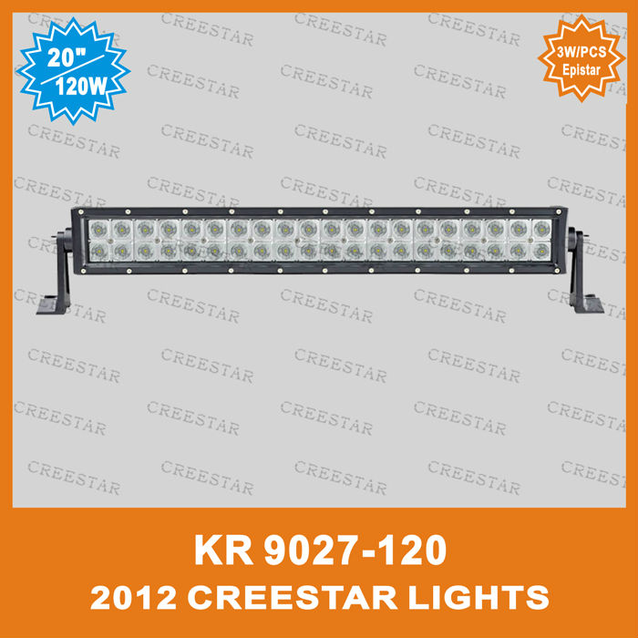 "Motorcycle 20"" 120W 3W/PCS Spot beam ,Flood beam ,Agriculture lights SUV,ATV,Industrial lights Truck lights 9600Lm KR9027-120(China (Mainland))"