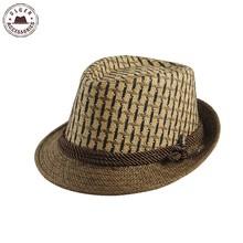 2016 Fashion Summer men's straw fedora hat gentlemen beige fedoras Jazz hats straw panama hat men (China (Mainland))