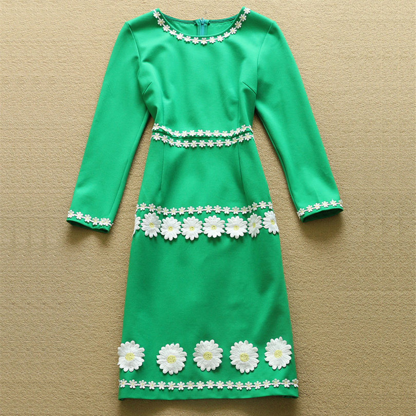 New 2015 women autumn runway fashion Dresses elegant 3D flower embroidery designer midi dress slim girl Dress D4840Одежда и ак�е��уары<br><br><br>Aliexpress