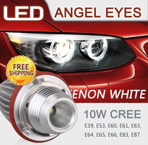 Fast shipping.2 X 10W CREE LED Angel Eyes For BMW E39 E53 X5 E60 E61 E63 E64 E65 E66 E87