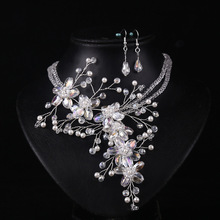 The new multi layer necklace gold handmade crystal necklaces Jewelry Sets wedding accessories sapphire jewelry(China (Mainland))