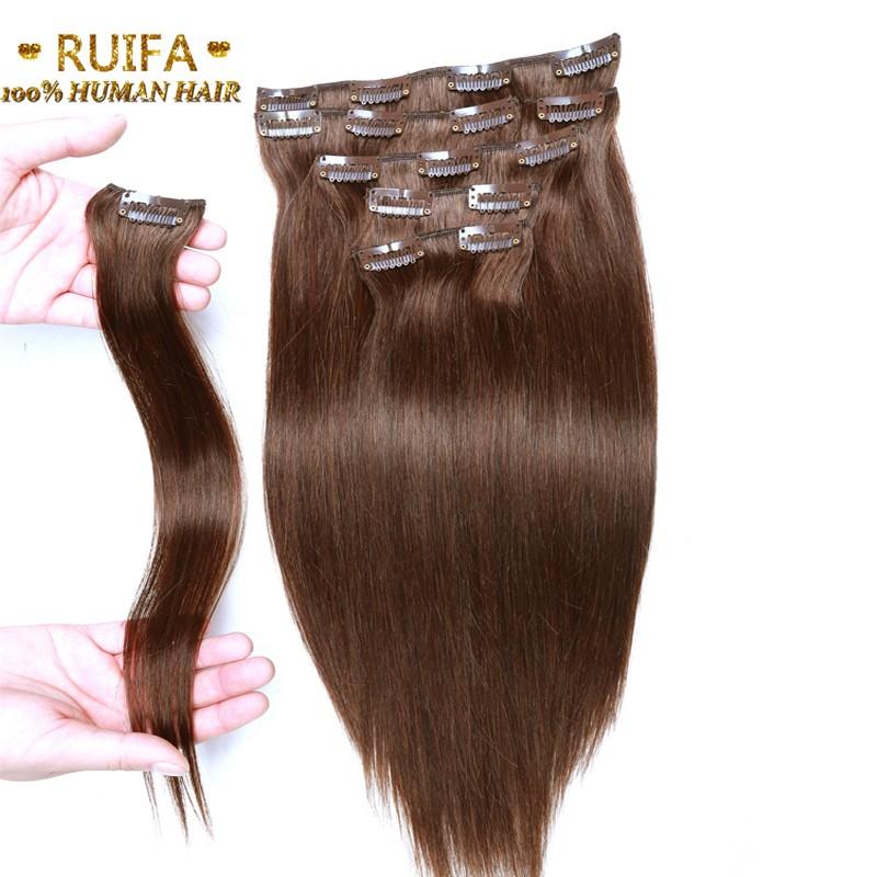 100% Human Hair Clips Brazilian Virgin Hair Straight #4 Middle Brown Clip In Human Hair Extensions 14-24″70-220G Hair Full Head