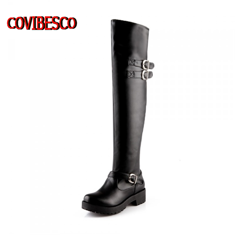Plus size 34-43,Euro style new fashion women knee high boots motorcycle long low heel riding outdoor shoes - COVIBESCO Ltd's store