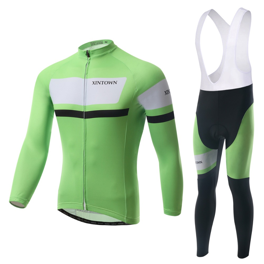 Cool Cycling Jerseys Suits Bib Green Long Sleeve Winter Mens Bike Bicycle Sports Ride Shirts Pants 2015 - Tobe The Best store