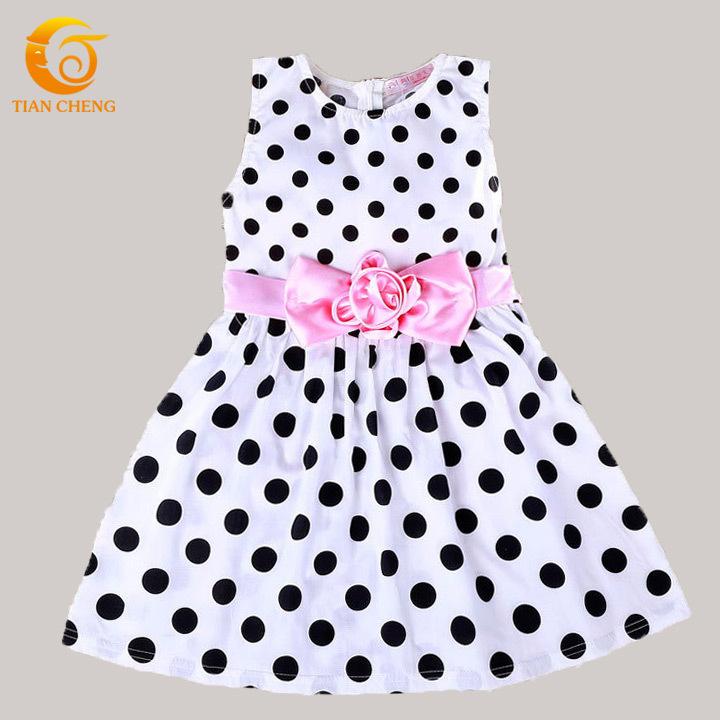 Hot Sale Polka Dots Flower Girls Dresses For Party Korean Cotton White/Black Sweet Kids Dresses Robes FillesVestidos Infantil(China (Mainland))