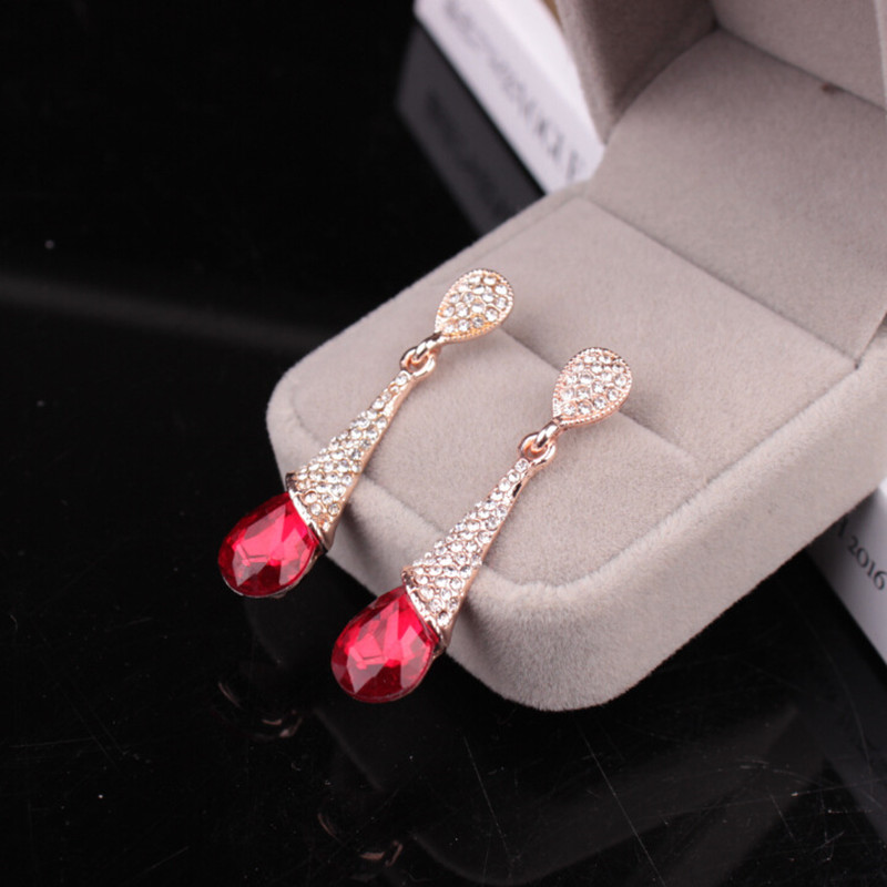 2016 long, red and Blue Crystal Earrings Valentine's Day lady jewelry free shipping(China (Mainland))