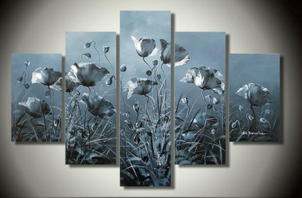 De alta qualidade papoulas fotos decoração flores Oil Painting arte parede pintada decoração sala de estar fotos 5 pçs/set(China (Mainland))