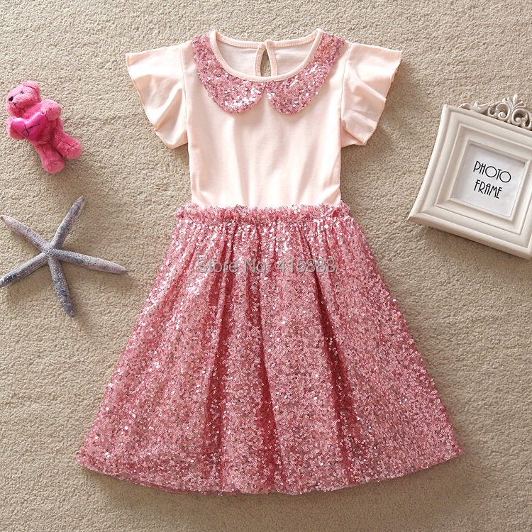 Elegant girl dress 2014 Summer New Girls Pink Cotton Top Qulity Lotus Sleeves Sequin Knee-Length TUTU Party Dress,,2-6Y - Xin Mother's Store store