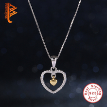 Trendy 925 Sterling Silver Clear CZ Diamond FOREVER IN MY HEART Pendant Necklace With 14K GOLD Dangle Charm for Women Jewelry(China (Mainland))
