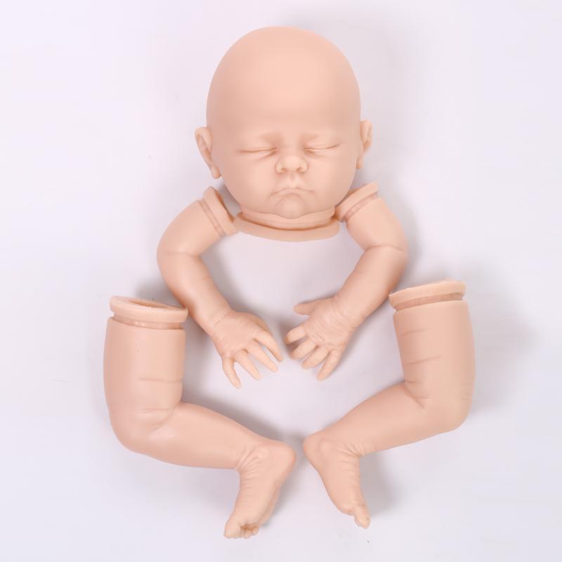 """20 """"bebé Renacida kit ojos cerrados sin pintar en blanco kits de silicona muñeca(China (Mainland))"""
