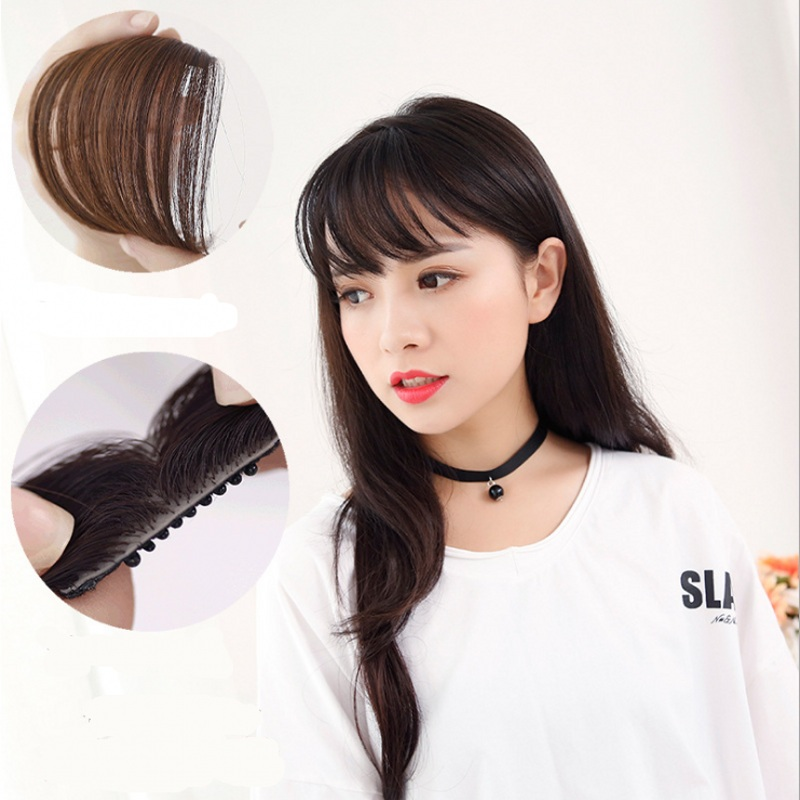 Natural Thin Mini fake Bang hair Clip in Bangs ladies sexy syntehtic hair extension front fringe,black brown hairpiece bangs(China (Mainland))