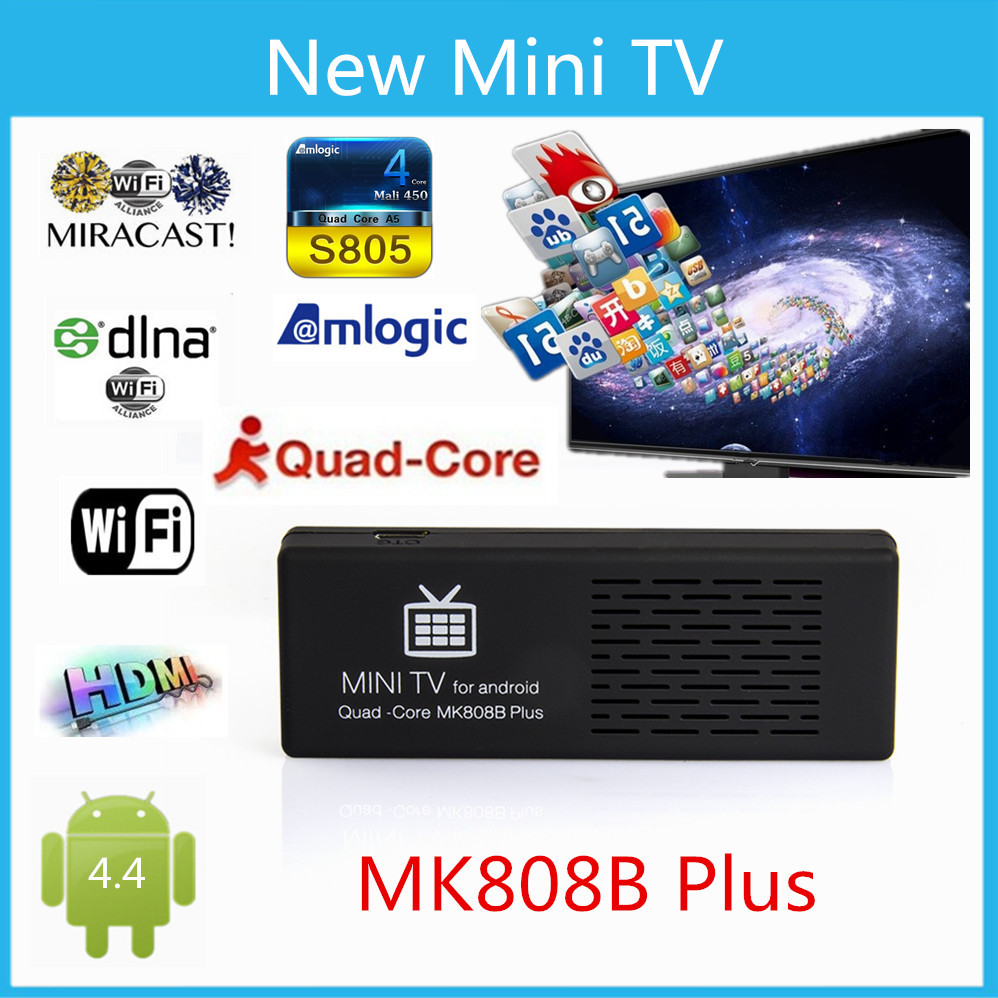 Vensmile mk808 MK808B Plus Android 4.4 HDMI TV Dongle Amlogic s805 Quad-Core 1GB/8GB Bluetooth XBMC Miracast/DLNA(China (Mainland))