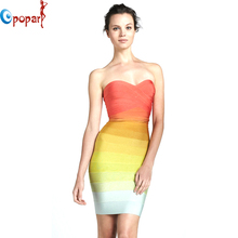 women orange ombre dress gradually shift color off the shoulder strapless rainbow bandage dress sexy short party dress HL8810(China (Mainland))